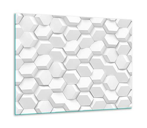 QTA | fornuisafdekplaat 60 x 52 cm keramische afdekking 1-delig universeel elekrofornuis inductie voor kookplaten fornuis spatbescherming snijplank decoratief glas