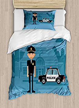 Lunarable Police Duvet Cover Set Cartoon Officer Cop Standing in Front of The Station on Blue Background Decorative 2 Piece Bedding Set with 1 Pillow Sham Twin Size Blue