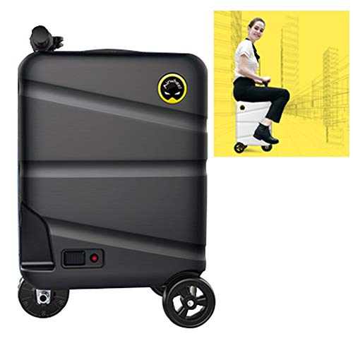 AJL 20 Inch electric unicycle Riding Suitcase - Smart Manned Rideable Luggage Scooter, Travel Portable Trolley Storage Case with Removable Power Bank Battery (Color : Black)