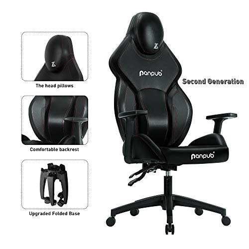 Panpub Gaming Chair, Ergonomic Patented Design Racing Chair,Office Desk Chair with High Back, Computer Game Chair with Adjustable Height,Angle and Armrest Height, Foldable Legs black chair gaming