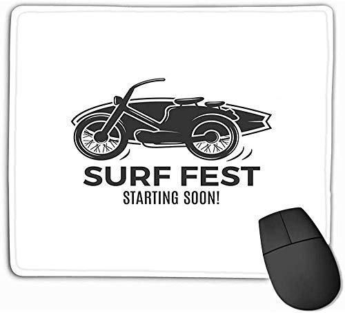 N/A Mouse Pad Vintage Surfing Design Retro Surf Festhirt Emblem Web Design Print Surfer Motorfiets Logo Rechthoek Rubber Mousepad 25 * 30Cm