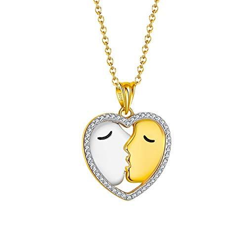 S925 Kiss Collar De Plata Esterlina, Colgante De Boca A Boca En Forma De Corazón, Cadena De 45 CM, Día De San Valentín, Navidad