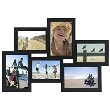 Malden International Designs Crossroads Puzzle Collage Picture Frame, 6 Option, 3-3.5x5 & 3-4x6, Black