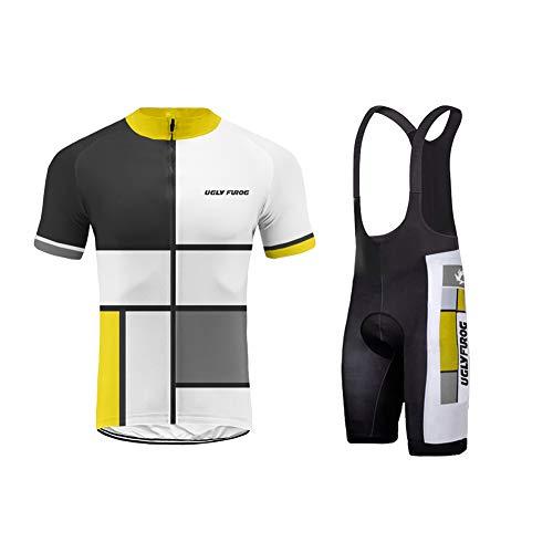 Uglyfrog Abbigliamento Ciclismo Set, Nuova Collezione Estivo Abbigliamento Sportivo per Bicicletta Maglia Manica Corta + Pantaloni Corti per Uomo DXMX01F
