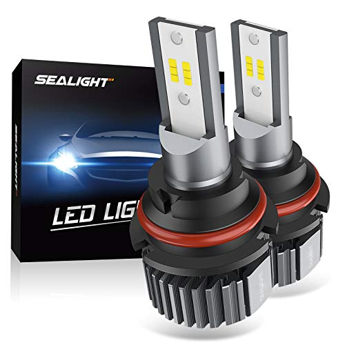 SEALIGHT 9004 HB1 LED Headlight Bulbs, Fanless 6000K White, Easy Installation, High Low beam, Halogen Replacement, CSP Chips