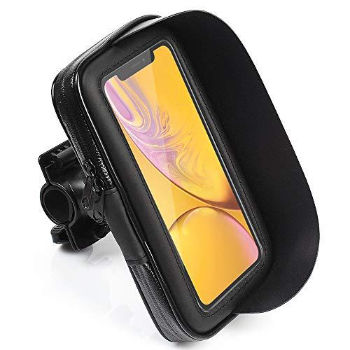 CLM-Tech Handy Fahrradhalterung für bis zu 6,2 Zoll Smartphones, Motorrad Halterung, wasserdichter Halter, schwarz, Kunstleder Lenkertasche