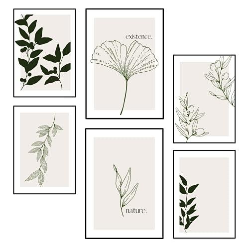 BLATT PAPIER® 6er Premium Poster Set (2x A3 | 4x A4) | Wandbilder Set, Bilder Set | Poster Set beige | Wanddeko Wohnzimmer | OHNE Rahmen