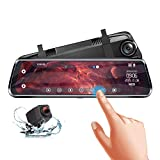 Rear View Mirror Dash Cam Front and Rear 1080P 10' IPS Full Touch Screen Video Streaming Mirror Dual Lens Backup Dash Camera for Cars with Reverse Assistance & Super Night Vision (Include 32G SD Card)