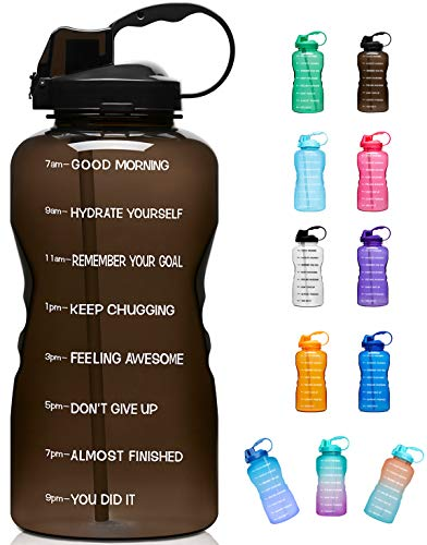 Giotto Large 1 Gallon/128oz (When Full) Motivational Water Bottle with Time Marker & Straw, Leakproof Tritan BPA Free, Ensure You Drink Enough Water Daily for Fitness, Gym and Outdoor Sports-Black