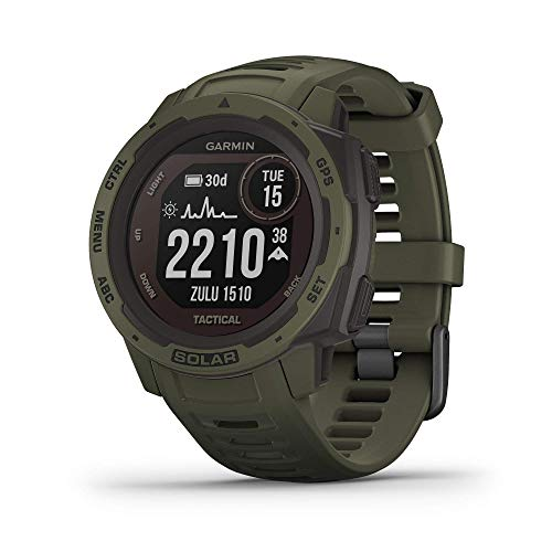 Garmin Instinct Solar Tactical, Solar-Powered Rugged Outdoor Smartwatch with Tactical Features, Built-in Sports Apps and Health Monitoring, Moss Green (Renewed)