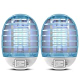 Bug Zappers Indoor Plug in, Electric Fly Zapper Mosquito Killer, Fly Trap with Blue Light for Kitchen, Room,Bedroom Home,Baby,Office 2 Packs