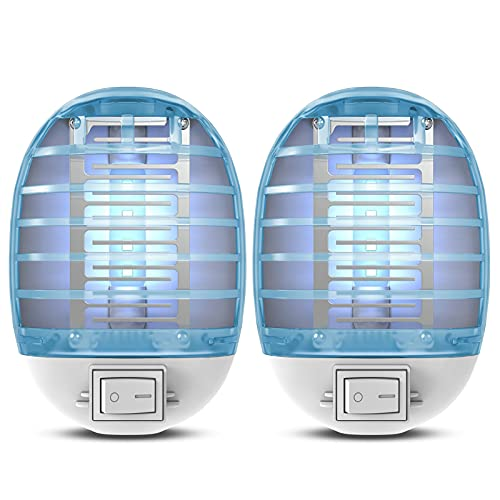Plug-in Bug Zapper, Fly Traps Indoor Electric Fly Zapper,Insect Trap with Blue Light for Mosquito and Fruit Flies Pack of 2