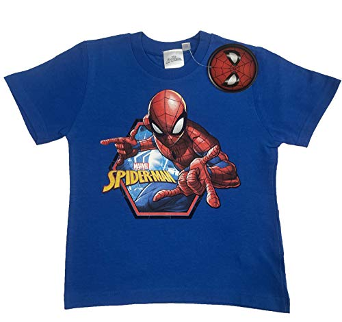 T Shirt Spiderman da Bambino in Cotone Maniche Corte Blu (Blu, 8 Anni)