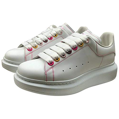 Alexander McQueen White/Pink Oversize Outlined Sneakers New/Authentic (38.5, Numeric_8_Point_5)