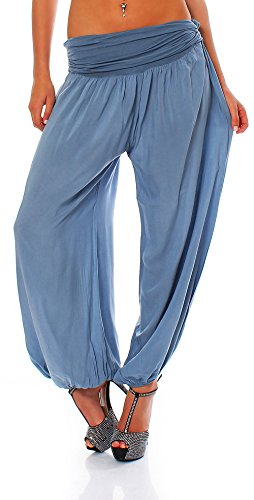 Malito Bombacho Aladin Harem Pantalón Boyfriend Baggy Yoga 1482 Mujer Talla Única (Azul Claro)