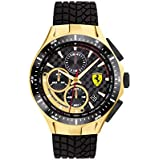 Ferrari Men's Race Day Stainless Steel Quartz Watch with Silicone Strap, Black, 22 (Model: 0830700)