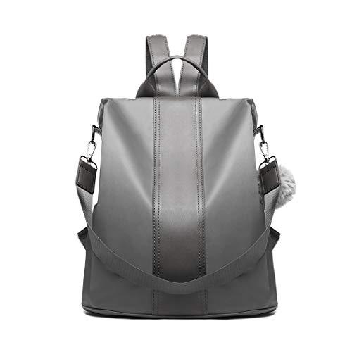 Miss Lulu Women Backpack Leisure Ladies Rucksack Water-Resistant Nylon School Bags Anti-Theft Daypack Shoulder Bag (grey)