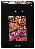 Fleurs(フルール) FZ-1505 プリントタイツ ピカソ 日本製 80デニール 50デニール展開 (OR, 50デニール M~L)