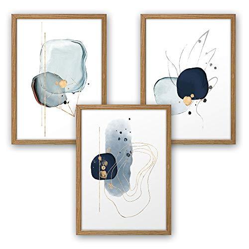 3-teiliges Premium Poster-Set   Kunstdruck   Abstrakt blau   Deko Bild für Ihre Wand   optional mit Rahmen   Wohnzimmer Schlafzimmer Modern Fine Art   DIN A4 / A3 (A3, natur Rahmen)
