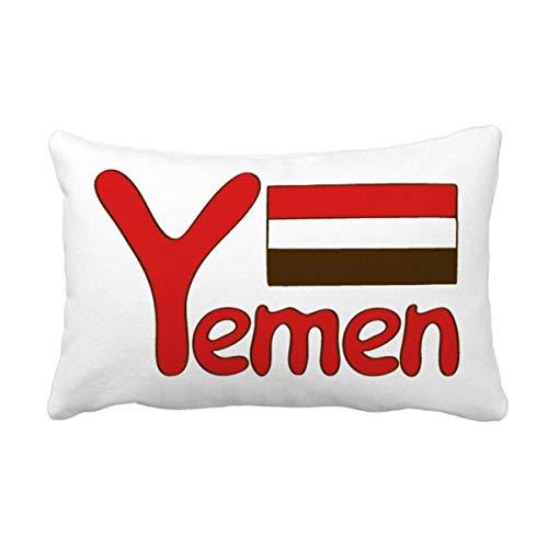 DIYthinker Jemen National Flagge Rot Muster Wurflendenkissen Kissenbezug Startseite Dekor-Geschenk 16 Zoll x 24 Zolls Mehrfarbig