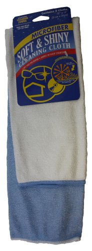 Atlas 16 Pcs (8 X 2-PC) Soft & Shiny Microfiber Cleaning & Wiping Cloth 12'x12' in 2 Colors 8 Blue & 8 White