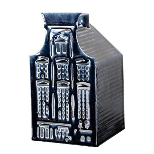 Antikas - Portacandela rettangolare, ferro, blu, media
