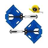 GGCG Abrazadera de Soldadura Recta con 2 Abrazaderas de ángulo de 90 Grados y Visor Ajustable para carpintería, carpintería con Cinta métrica (Negro) (Color : Bleu)
