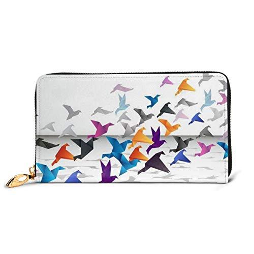 Colorful Origami Portemonnaie aus echtem Leder Lange Geldbörse aus Metall mit Reißverschluss elegant elegant für Herren Große Kapazität Multifunktion