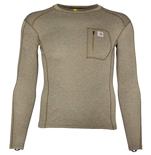 Carhartt Men's Size Force Heavyweight Thermal Base Layer Long Sleeve Pocket Shirt, Burnt Olive Heather, X-Large Tall