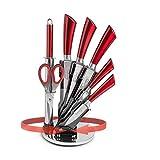 Hometric Juego de 7 cuchillos de cocina profesionales y soporte con...