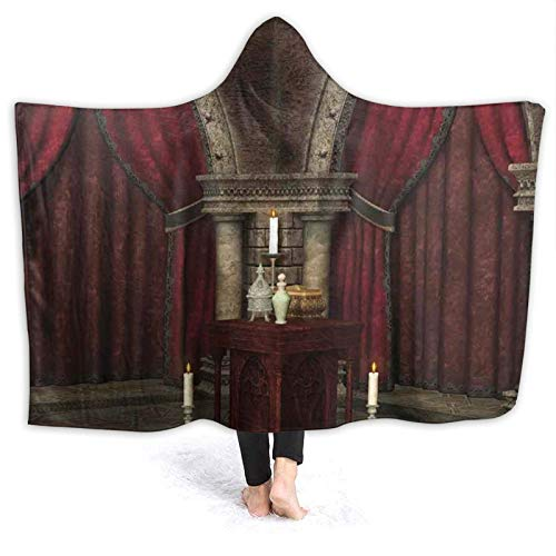 Hooded Blanket Anti-Pilling Flannel,Mysterious Dark Room in Castle Ancient Pillars Candles Spiritual Atmosphere Pattern,Soft and Warm Flannel Throw Blanket for Couch Sofa,for Teens