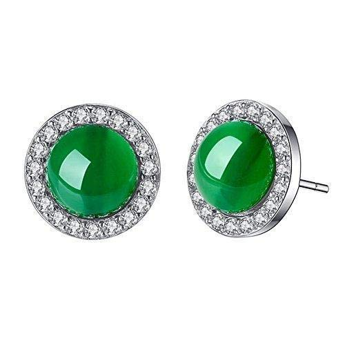 Hoveey 1 par de pendientes de tuerca de plata de ley verde jade para niñas y mujeres