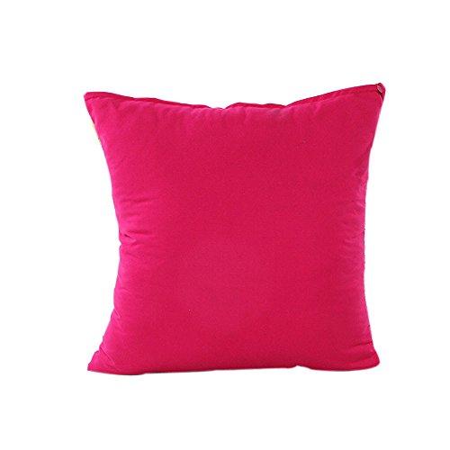 Funda de cojín de 45 x 45 cm, color liso, rosa, rojo, funda de almohada acogedora a la moda, cuadrada, decorativa, de algodón y lino, para sofá, dormitorio, cama, decoración