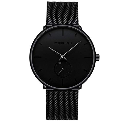 Relojes Hombre De Malla Ultra Fino Negro para Hombres Relojes De Pulse
