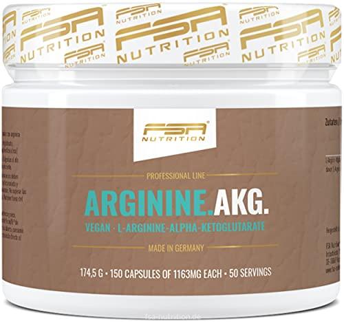 Arginin AKG 150 Kapseln, 1000 mg pro Kapsel, optimierte Arginin-Formel, Vegan, Hergestellt in Deutschland - FSA Nutrition