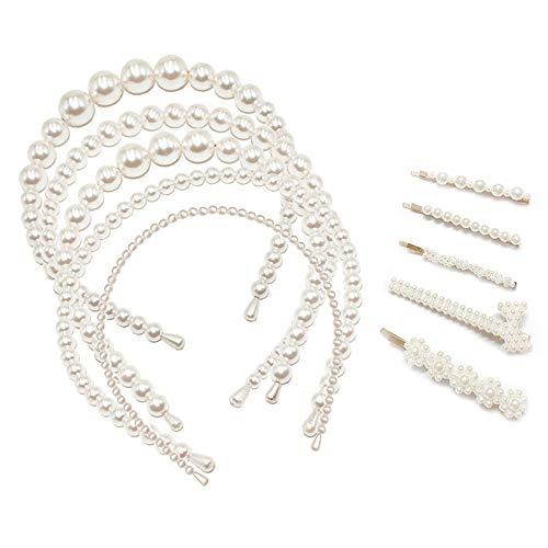 Moapei Perle Haarreifen Braut Haarschmuck Faux Perle Strass Haarband für Hochzeit, Geburtstag, Party, Valentinstag, Geschenk/5 Weiße Perle Stirnbänder + 5 Perlenhaarnadeln