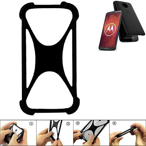 K-S-Trade Handyhülle Für Motorola Moto Z3 Play Schutz Hülle Silikon Bumper Cover Hülle Silikoncase TPU Softcase Schutzhülle Smartphone Stoßschutz, Schwarz (1x)