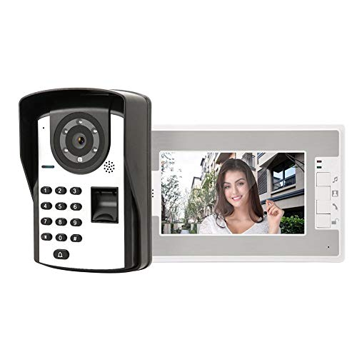Kit de Timbre Digital con Cable, Timbres para Puerta Videoportero Huella Digital Control Remoto Desbloqueo Visión Nocturna(EU)