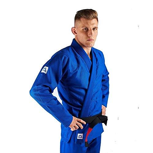 Manto Base BJJ Gi Blue White V1 - Kimono brasileño con uniforme de Jiu Jitsu, color azul y blanco, tamaño A1