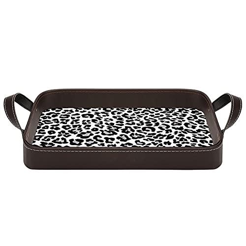 bandeja de cuero,bandeja de tocador decorativa,Exture Repitiendo Patrones Sin Fisuras Snow Leopard Jaguar White Leopard,Bandeja de utilidad Oficina en casa Viaje Café Ba