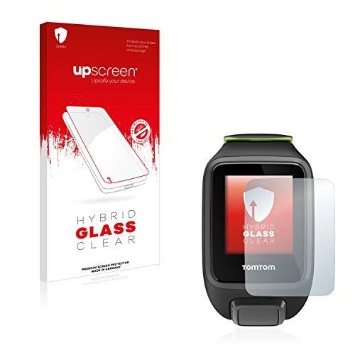 upscreen Hybrid Glass Panzerglas Schutzfolie kompatibel mit Tomtom Runner 3 Music 9H Panzerglas-Folie