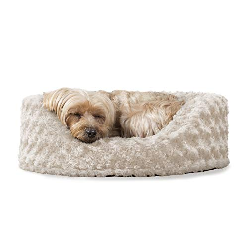 Furhaven Pet Dog Bed | Round Oval Cuddler Ultra Plush Faux Fur Nest Lounger Pet Bed for Dogs & Cats, Cream, Small