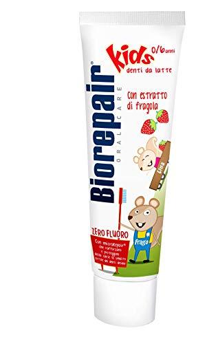 Biorepair, Dentifricio Kids 0-6 anni, Dentifricio per Bambini Senza Fluoro Gusto Frutta, Anticarie, per Gengive Sane, 50 ml