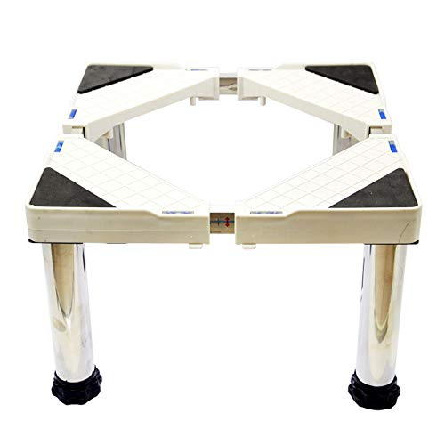 Soporte multifuncional ajustable para lavadora, 4 patas fuertes, soporte móvil resistente longitud y ancho de 46 a 75 cm, 600 kg de pedestal de secador de carga (altura de 15 a 18,8 cm)