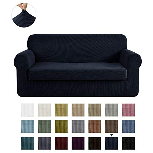 CHUN YI Stretch Sofa Slipcover 2-Piece Couch Cover Furniture Protector, 3 Seater Coat Soft with Elastic Bottom, Checks Spandex Jacquard Fabric, Large, Dark Blue