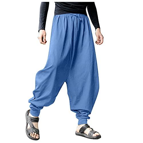 YANFANG Pantalones HaréN De AlgodóN Y Lino Gran TamañO Sueltos Color SóLido Retro Verano para Hombre,Pantalones Hombre,Outdoor Cintura Estampado Deportivos Al Aire Libre,Azul Marino,L