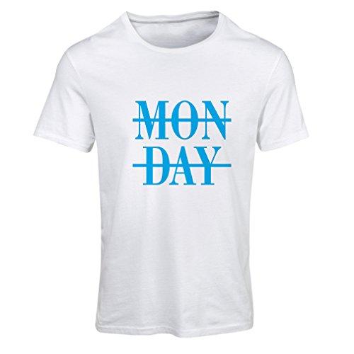 lepni.me Frauen T-Shirt Oh Scheiße, es ist Montag! Lustig Hasse ich Arbeitsslogans (Large Weiß Blau)