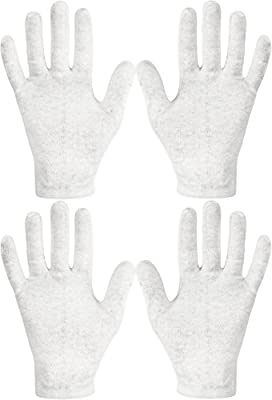 Eurow 100% Premium Cotton Cosmetic Moisturizing Natural Therapy Gloves for Dry Hands Healing and Beauty - White 2 Pairs