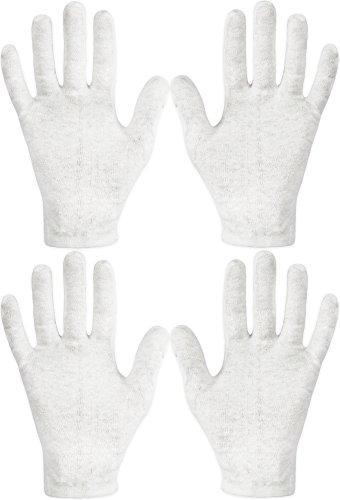 Eurow Lot de 2 paires de gants de soins naturels 100 % coton de qualité supérieure pour soins et beauté des mains sèches Blanc