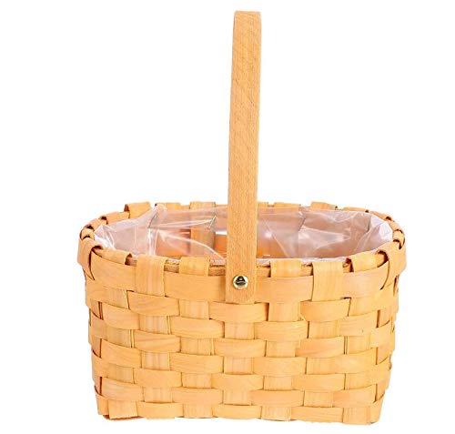 Wardell Cesta de mimbre Forro a rayas incluido Baño, hogar y lavandería |Organizador de madera Cesto decorativo y canastilla
